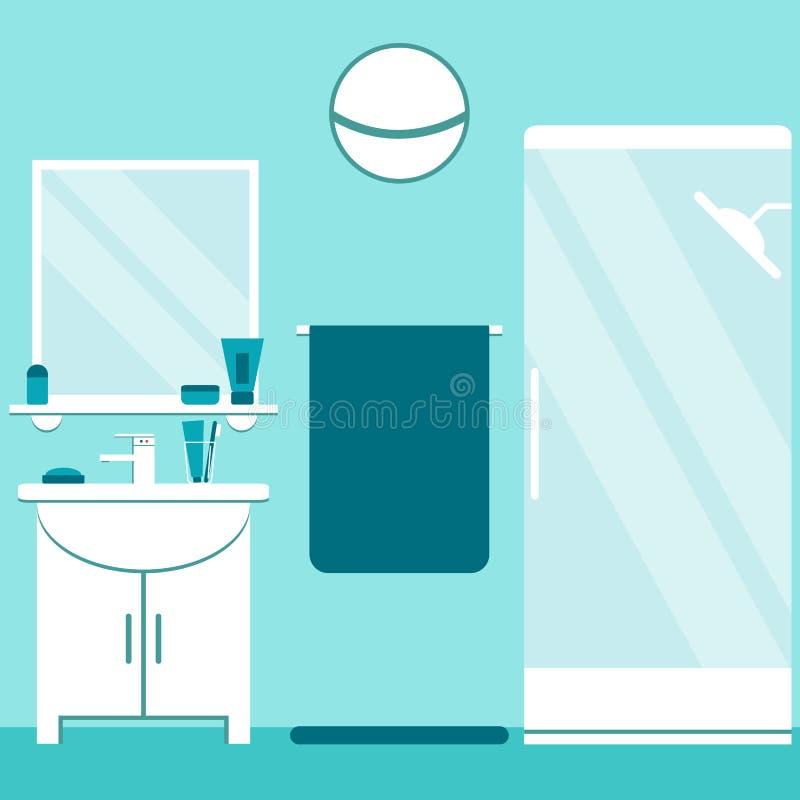 Download Nowożytnej łazienki Wewnętrzny Projekt W Błękitnych I Bielu Kolorach Mieszkanie łazienki Stylowi Elementy: Washbasin, Prysznic, L Ilustracja Wektor - Ilustracja złożonej z dekoracje, wnętrze: 57671005