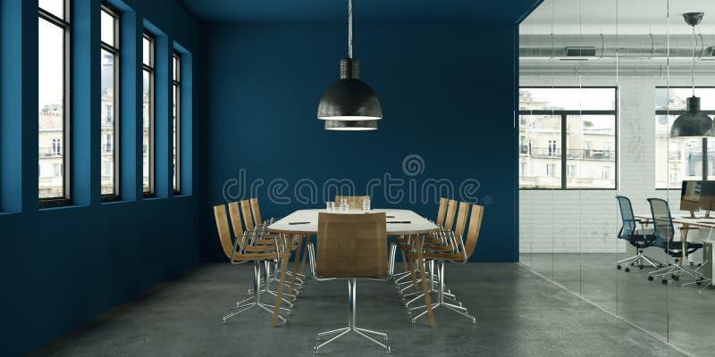 Nowożytnej błękitnej sala konferencyjnej wewnętrzny projekt świadczenia 3 d ilustracja wektor