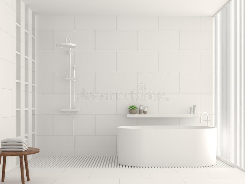 Nowożytnej białej łazienki 3d renderingu wewnętrzny wizerunek ilustracja wektor