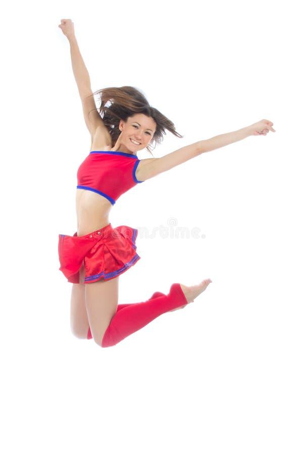 Nowożytnej chirliderka tancerza nastoletniej dziewczyny skokowy taniec obraz royalty free