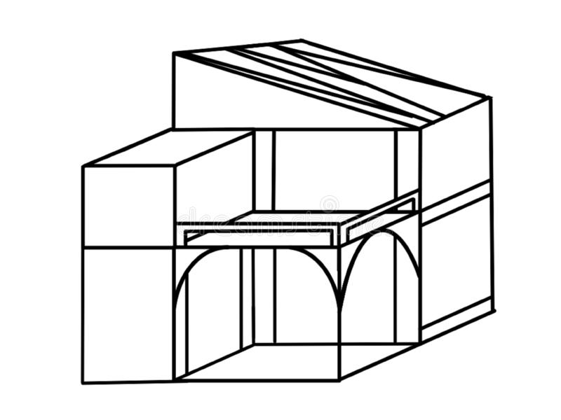 Nowożytnej dom linii Prosta 3d ilustracja ilustracji