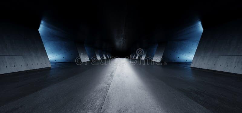 Nowożytnej Eleganckiej architektury Grunge betonu kolumn cementu korytarza garażu Odbijającej Podziemnej Izbowej galerii korytarz ilustracji