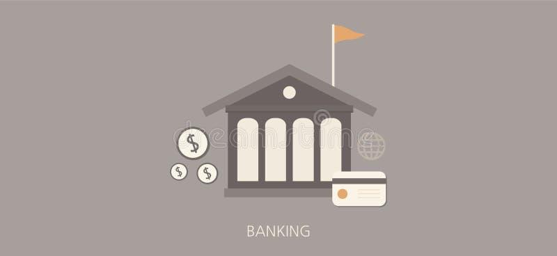 Nowożytnej i klasycznej bankowości pojęcia ikony płaski set royalty ilustracja