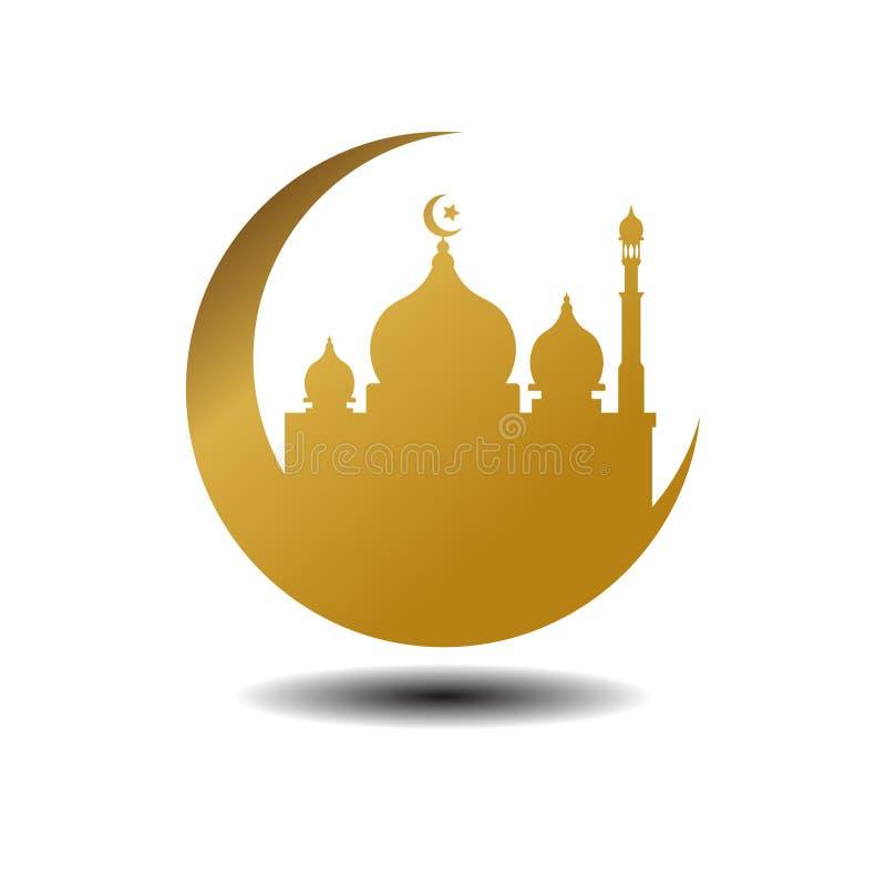 Nowożytnej Meczetowej Muzułmańskiej ikony Wektorowy Złocisty biały tło z cieniem Dla Wszystkie biznesu Ilustracja Islamska ilustracja wektor