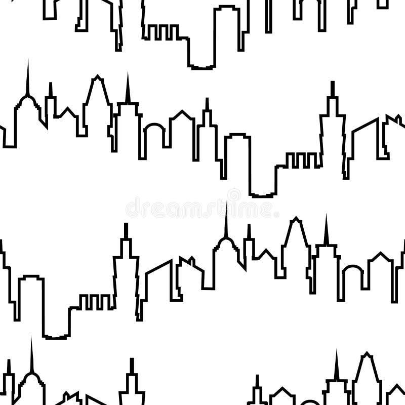 Nowożytnej miasto sylwetki bezszwowy wzór Wektorowa ilustracja dla miastowego projekta Budynek budowy tapeta Sztuki miasteczko ilustracji
