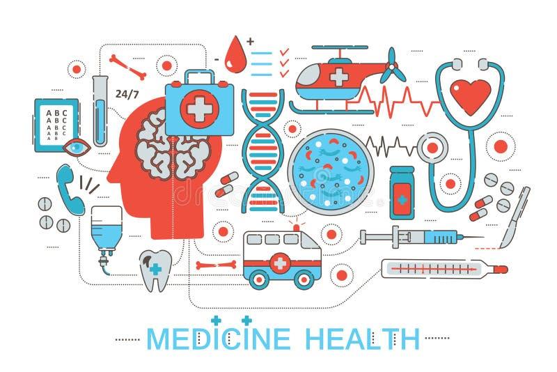 Nowożytnej mieszkanie projekta cienkiej Kreskowej nauki opieki zdrowotnej medyczny pojęcie dla strony internetowej, prezentaci, u ilustracja wektor