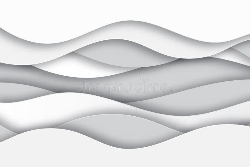 Nowożytnej papierowej sztuki kreskówki białe i szare abstrakcjonistyczne wodne fala obraz royalty free