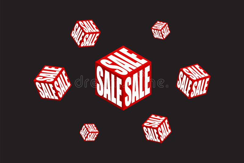 Nowożytnej sprzedaży ikony płaski sześcian isometric Sprzedaż sztandaru projekta szablonu tło royalty ilustracja
