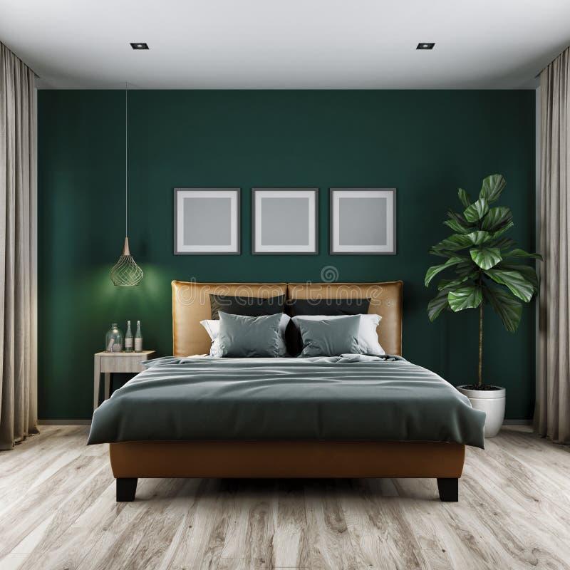 Nowożytnej sypialni ciemny brzmienie, 3d rendering obraz royalty free