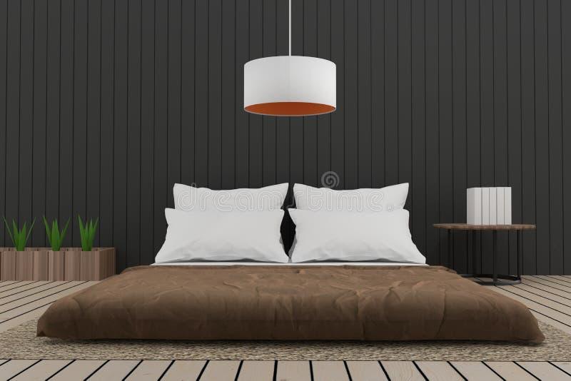 Nowożytnej sypialni wewnętrzny loft w 3D odpłaca się wizerunek royalty ilustracja
