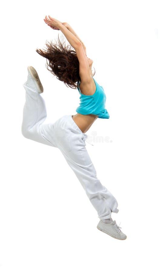 Nowożytnej szczupłej Hip-hop stylu tancerza nastoletniej dziewczyny skokowy taniec obraz royalty free