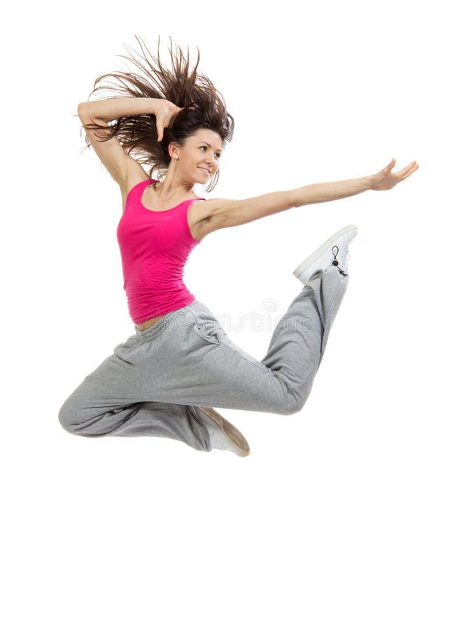 Nowożytnej szczupłej Hip-hop stylu tancerza nastoletniej dziewczyny skokowy taniec fotografia royalty free