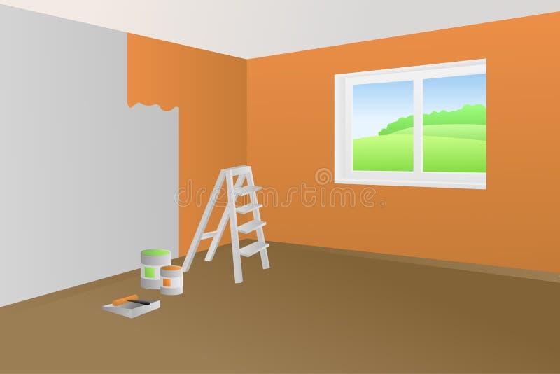 Nowożytnej wewnętrznej izbowej budowy pomarańcze zieleni farby okno drabinowa ilustracja ilustracji