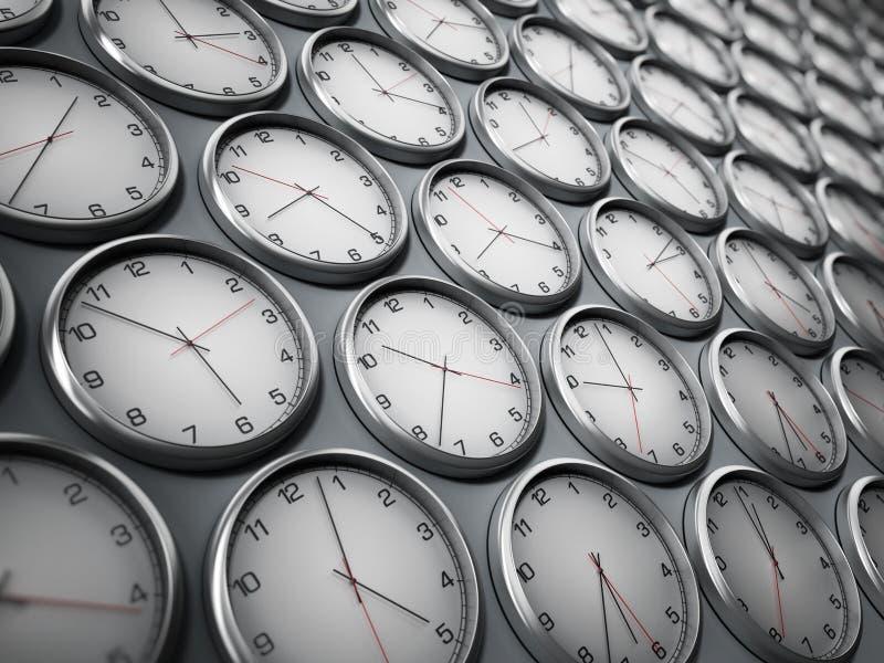Nowożytni ścienni zegary pokazuje różne strefy czasowe światowi miasta ilustracja 3 d ilustracji