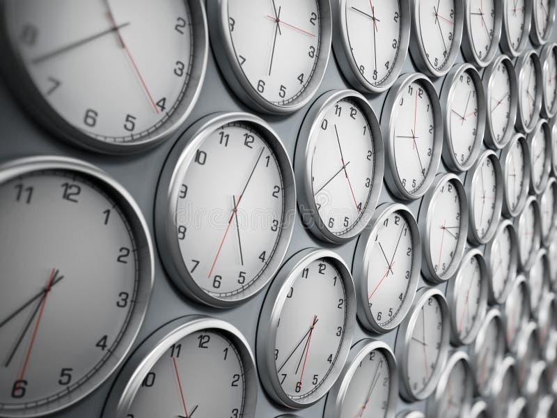 Nowożytni ścienni zegary pokazuje różne strefy czasowe światowi miasta ilustracja 3 d royalty ilustracja