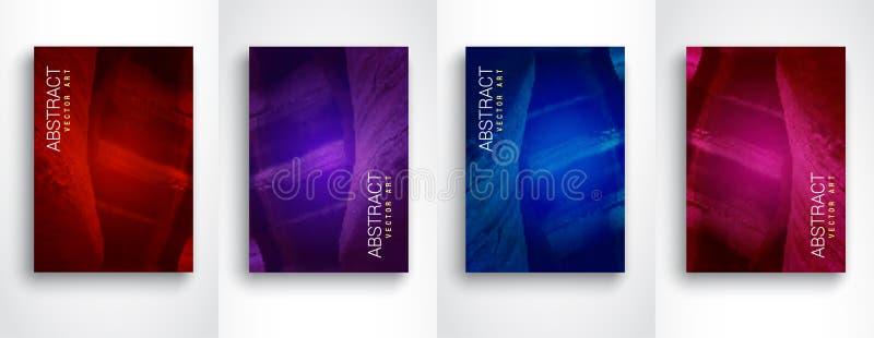 nowożytni abstrakcjonistyczni tła Nowożytny kolorowy przepływu set 4 projekta wektorowy szablon Wielkościowy A4 ilustracja wektor