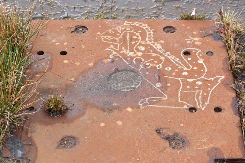 Nowożytni azteka dinosaura graffiti zdjęcie royalty free