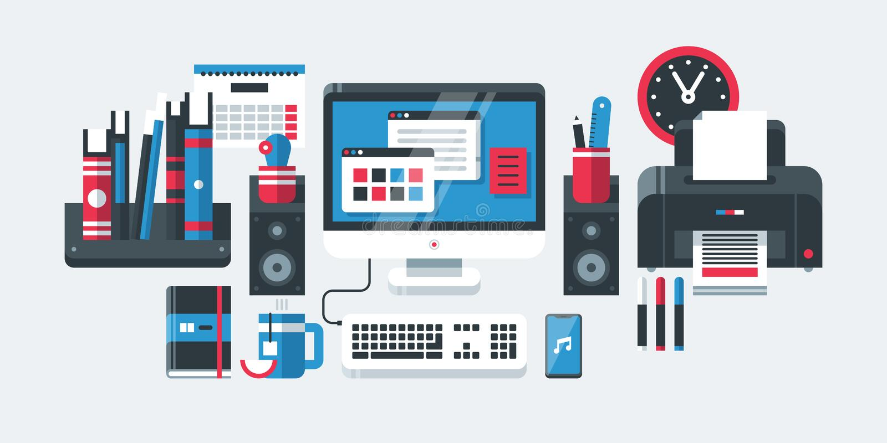 Nowożytni biurowi narzędzia w płaskim projekta stylu Komputer stacjonarny, bookshelve, kalendarz, drukarka, zegar, etc, ilustracja wektor