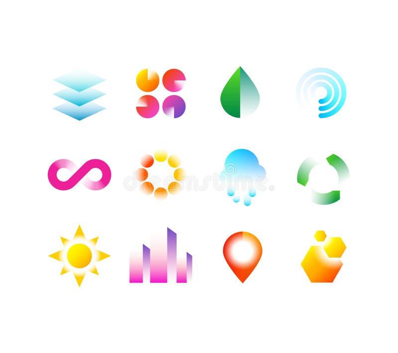 Nowożytni biznesowi emblematy z geometrycznymi kształtami Abstrakcjonistycznego wibrującego koloru loga projekta wektorowa kolekc royalty ilustracja