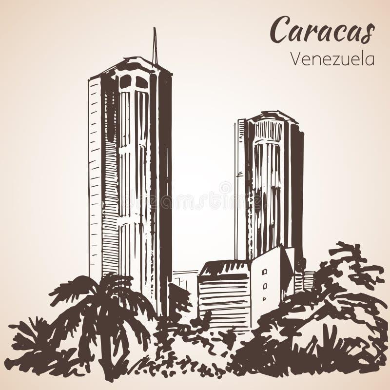 Nowożytni budynki Caracas, Wenezuela nakreślenie royalty ilustracja
