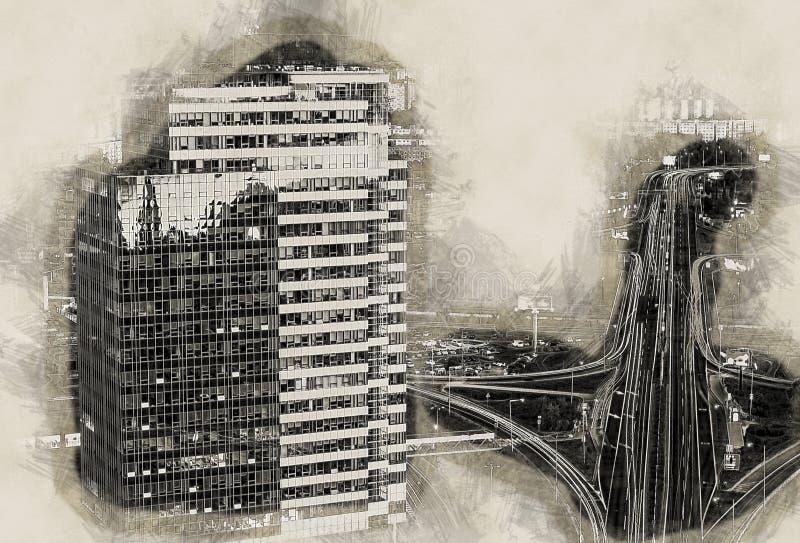 Nowożytni budynki w Bratislava mieście ilustracji
