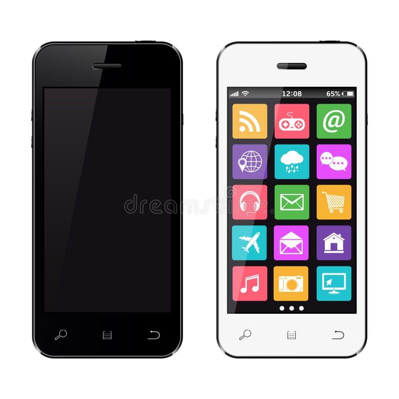 Nowożytni ekranów sensorowych smartphones odizolowywający na białym tle ilustracja wektor