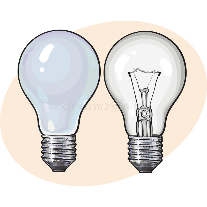 Nowożytni fluorescencyjny, energooszczędny i tradycyjny, tangsten żarówkę ilustracja wektor