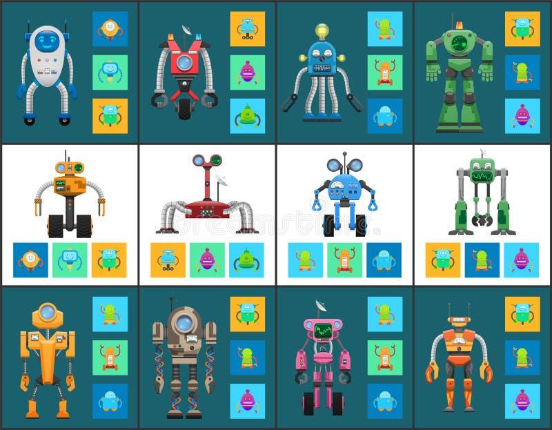 Nowożytni Humanoid roboty z Wielofunkcyjnym systemem royalty ilustracja