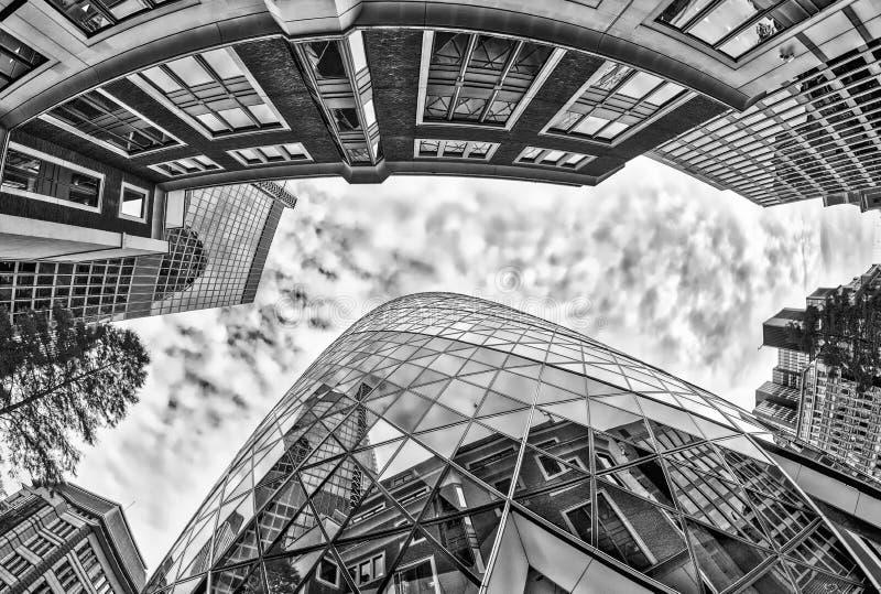 Nowożytni i starzy budynki Londyn Fisheye widok od ulicznego lwa zdjęcie royalty free