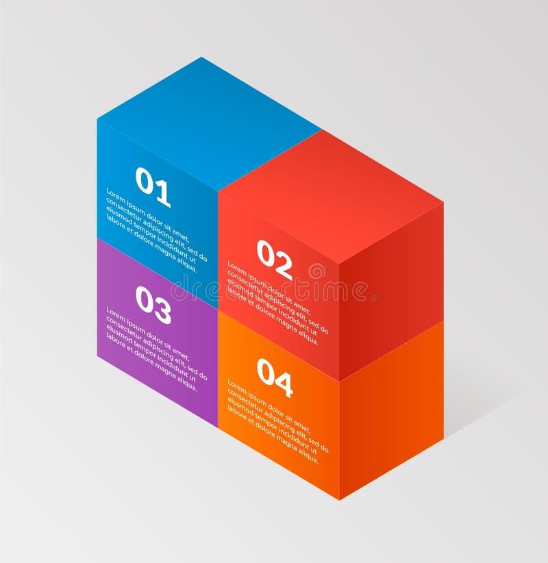 Nowożytni isometric infographics bloki izolują elemsnts elementu szablon również zwrócić corel ilustracji wektora może używać dla royalty ilustracja
