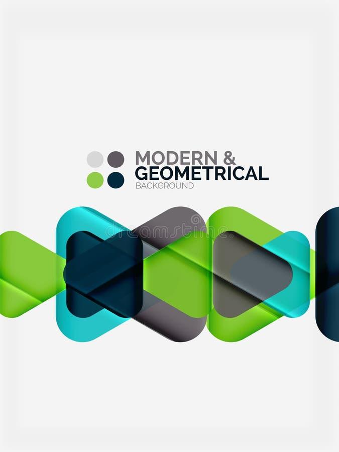 Nowożytni kolorowi geometrical trójboki z błyszczącym glansowanym skutkiem z próbka tekstem ilustracji