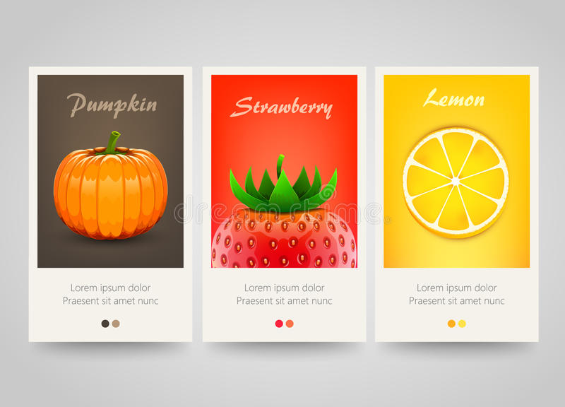 Nowożytni kolorowi pionowo owoc, warzywa i jagody sztandary, royalty ilustracja