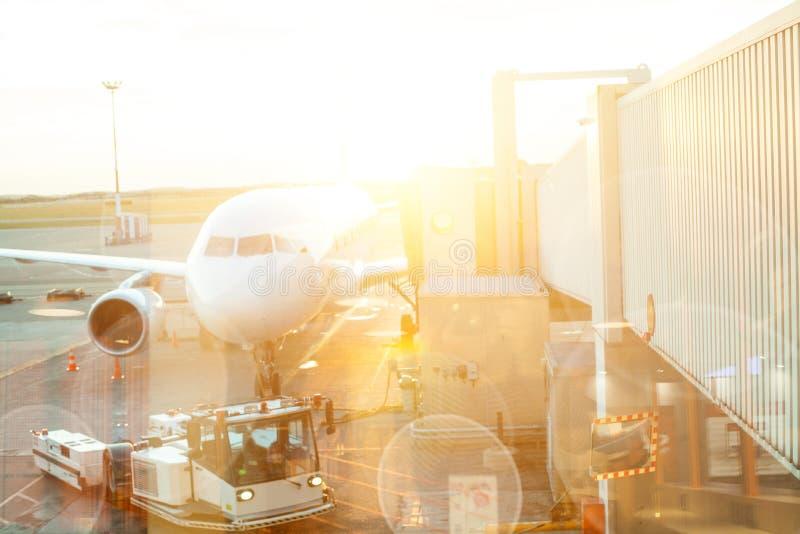 Nowożytni międzynarodowi aerport podróżnicy, samolot przez lotniskowego nadokiennego widoku na lata słońca tle fotografia royalty free