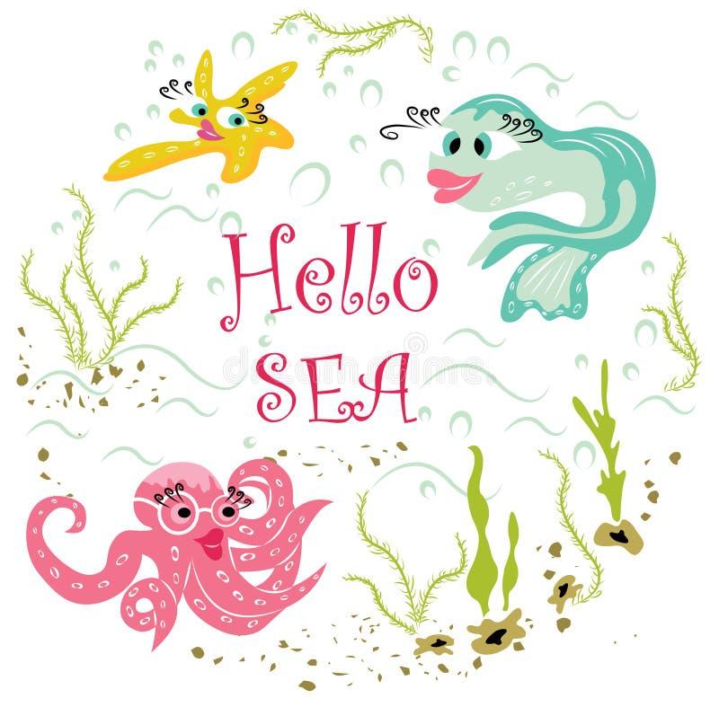 Nowożytni morscy zwierzęta i piękna podwodna natura ilustracji