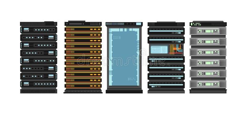 Nowożytni płascy serwerów stojaki Komputerowi procesorów serwery dla serweru pokoju Wektor ustawiający odizolowywającym na białym royalty ilustracja