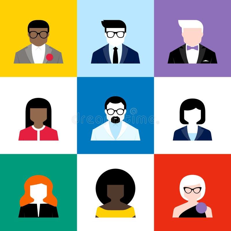 Nowożytni płascy wektorowi avatars ustawiający Kolorowe użytkownik ikony ilustracja wektor