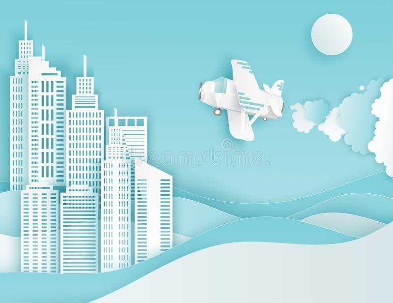 Nowożytni papierowi sztuki chmur, samolotu, słońca i miasta drapacze chmur, royalty ilustracja