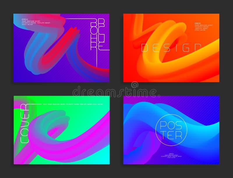Nowożytni plakatowi szablony Abstrakcjonistyczni wektorowi jaskrawi tła z kolorowymi ciekłymi kształtami ilustracji