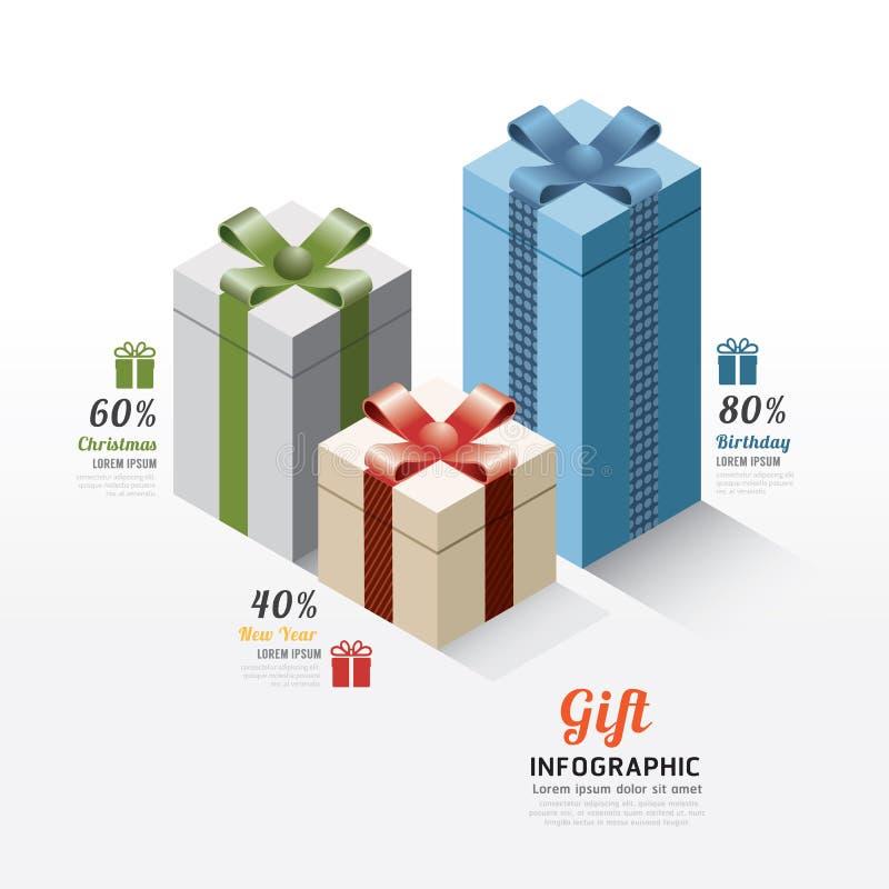 Nowożytni prezenta pudełka infographics elementy Projekta wektoru illustratio ilustracja wektor