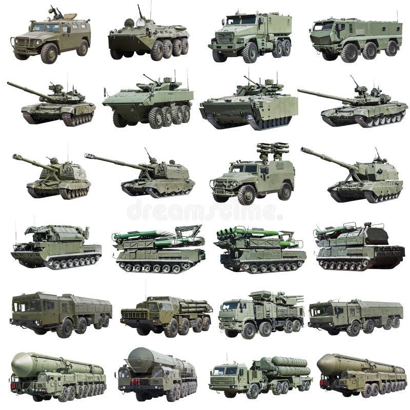 Nowożytni Rosyjscy opancerzeni pojazdy wojskowi odizolowywający obraz stock