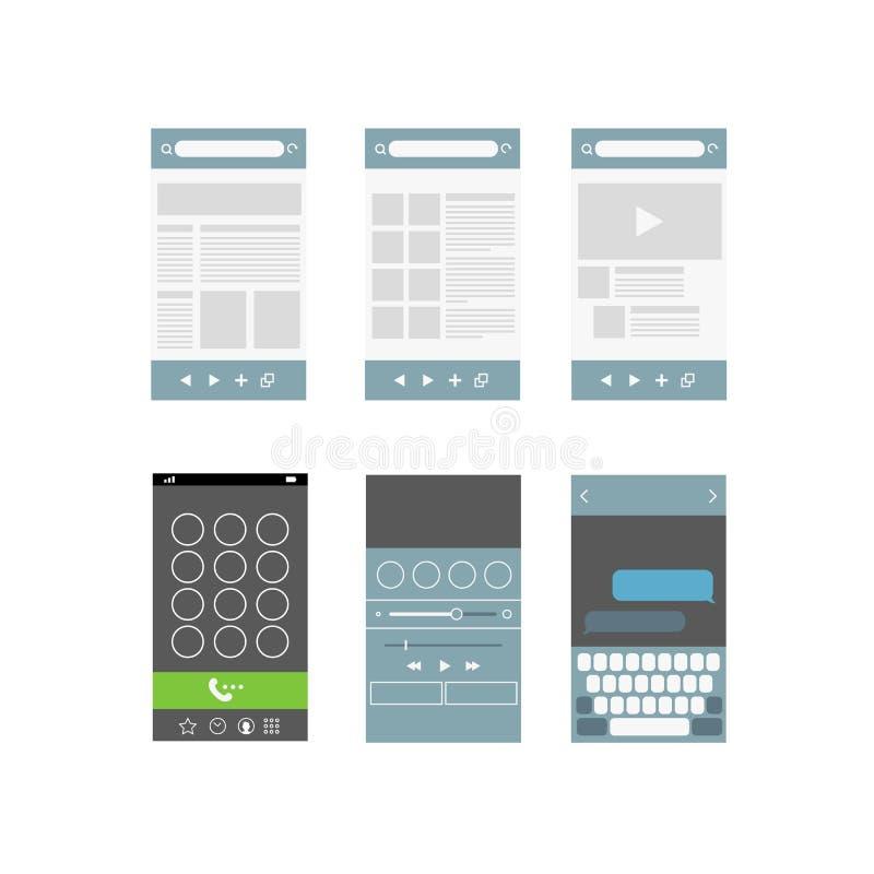 Nowożytni smartphone interfejsu elementy ilustracja wektor