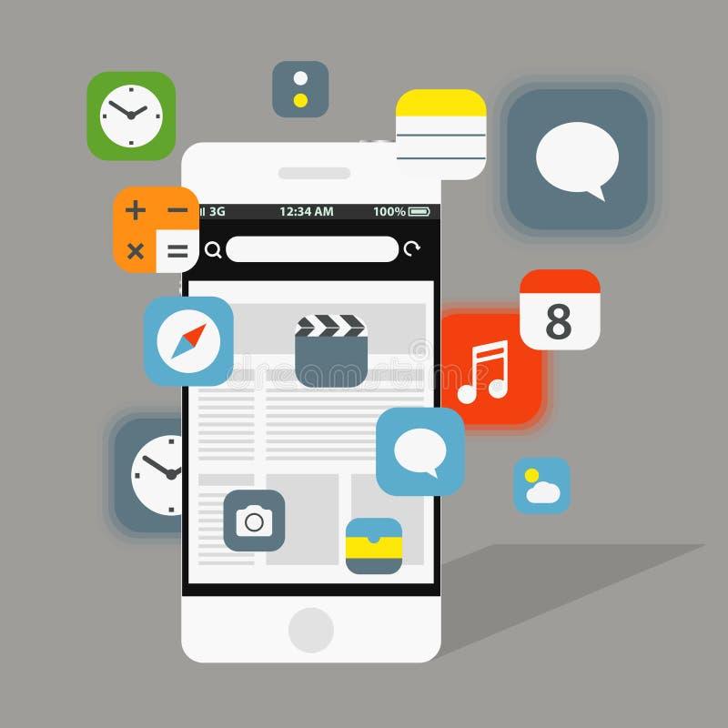 Nowożytni smartphone interfejsu elementy royalty ilustracja