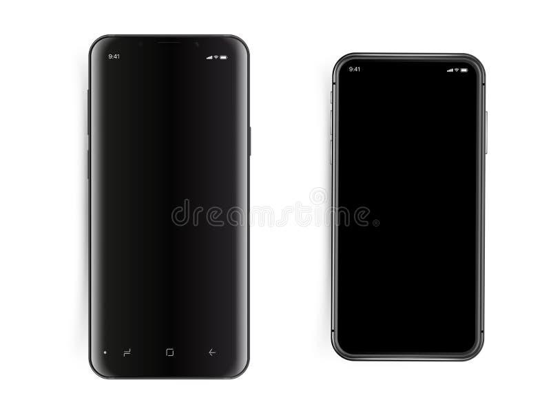 Nowożytni smartphones ustawiający odizolowywającymi na bielu ilustracja wektor