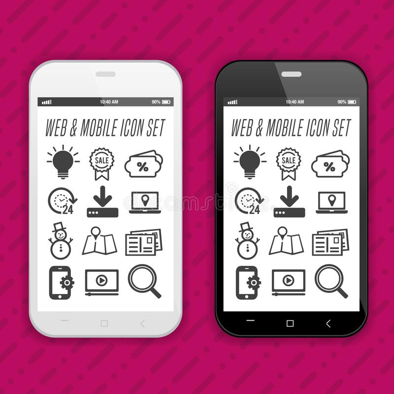 Nowożytni Smartphones z app ikonami na dotyka parawanowym pokazie royalty ilustracja