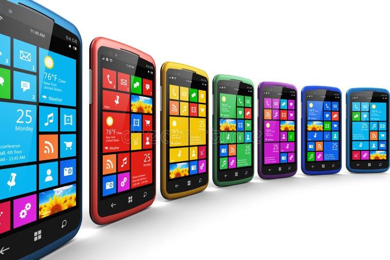 Nowożytni smartphones z ekranu sensorowego interfejsem royalty ilustracja