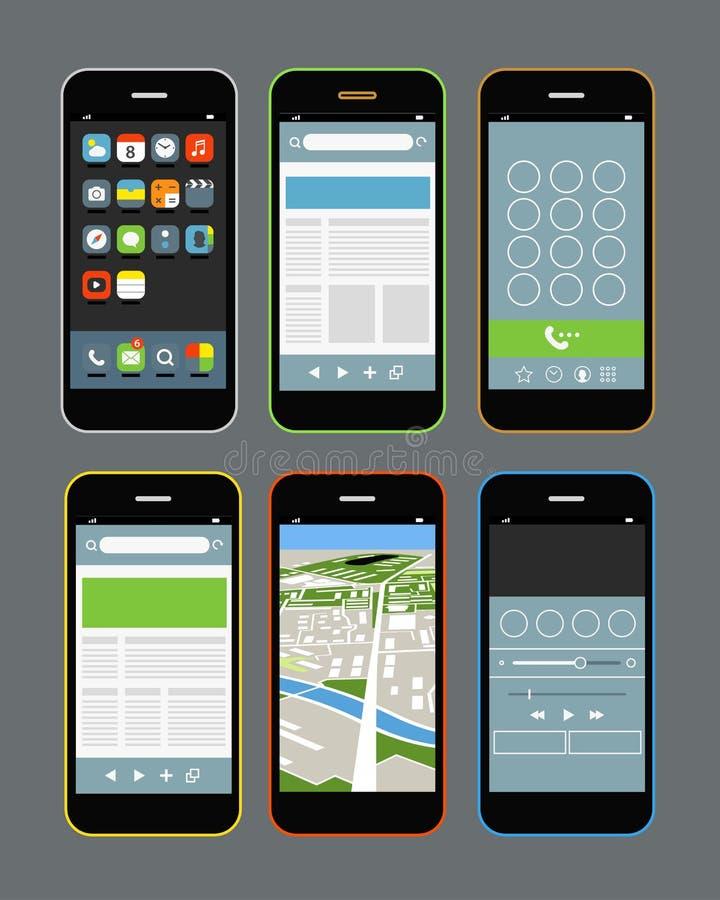 Nowożytni smartphones z różnymi zastosowaniami ilustracja wektor
