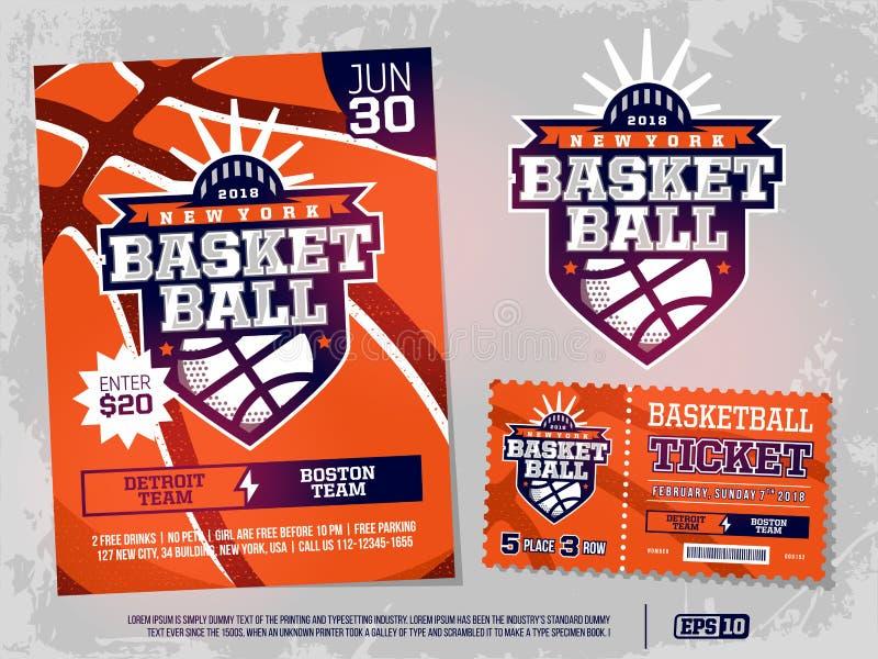 Nowożytni sporty zawodowi projektują plakat, bilet i emblemat dla koszykówka turnieju ilustracji