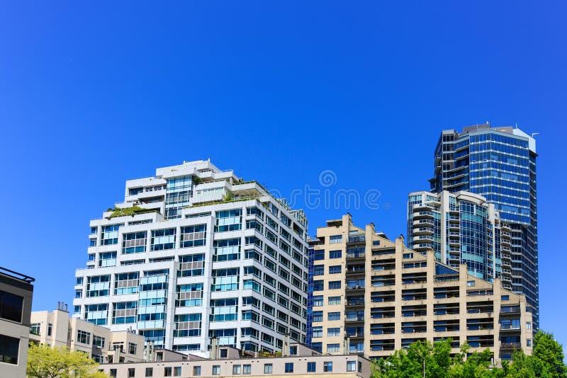 Nowożytni Tarasowaci budynki w Seattle obraz royalty free