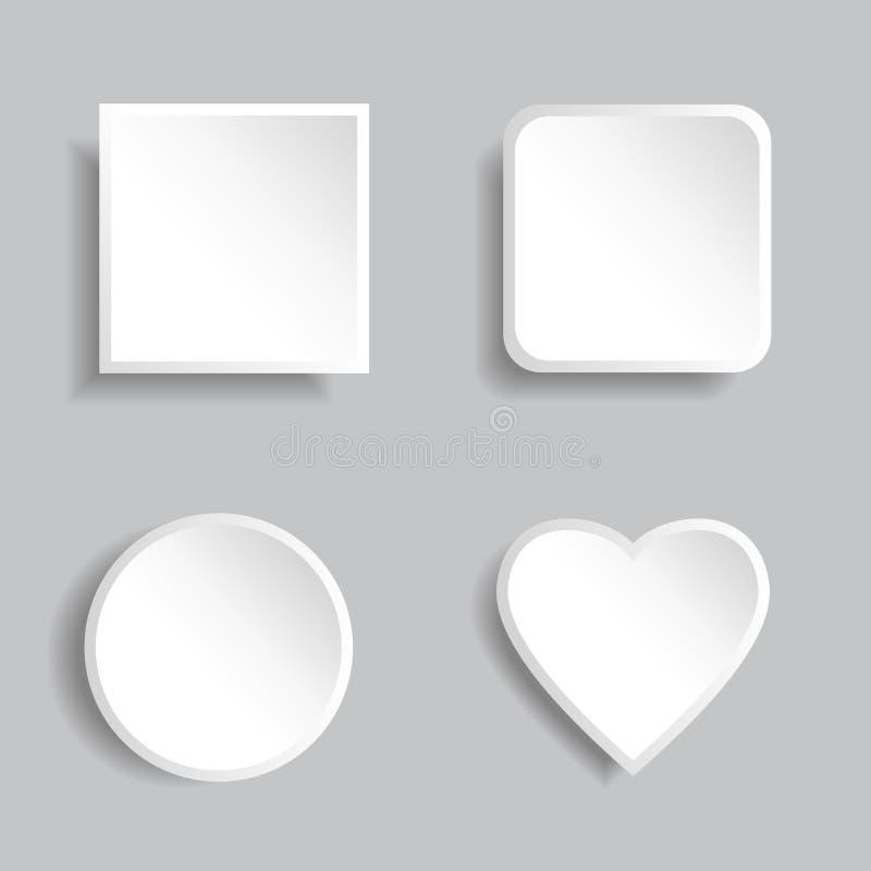 Nowożytni wektorowi puści biel guziki ustawiają z cieniami ilustracji