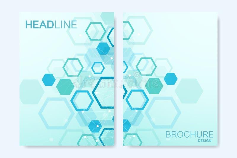 Nowożytni wektorowi szablony dla broszurki, pokrywa, sztandar, ulotka, sprawozdanie roczne, ulotka Abstrakcjonistycznej sztuki sk royalty ilustracja